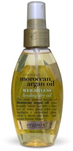 OMG MY NEW BEST FRIEND!!! >_< I don't know how I've lived this long without it this is the only hair product I will ever need, unless I'm doing something fancy. Organix Moroccan Argan Oil Weightless Healing Dry Oil. LOVE. And cruelty free!