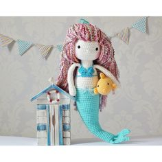 """Amigurumi crochet pattern This Sweet mermaid pattern is my own design, when finished he measure's approx 16"""" tall ( when using recommended yarn and hook ) The pattern includes instructions for the little fish too! The pattern is quite straight forward I recommend it as an intermediate/advanced beginner pattern. The instructions are very detailed and easy to follow if you know the basic stitches and techniques used to make amigurumi . The PDF file includes lots of pictures to help you along…"""