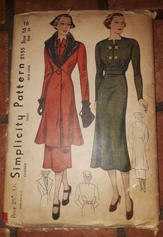 c3688195a8 Vintage 1930s Simplicity Pattern  2155 Womens Coat an Dress Design Size16  Bust34
