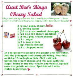 recipes and links: Aunt Bee's Bingo Cherry Salad - Obst Jello Desserts, Jello Recipes, Dessert Salads, Old Recipes, Vintage Recipes, Copycat Recipes, Dessert Recipes, Cooking Recipes, Jello Salads