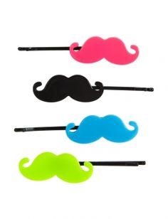 Mustache Bobbie Pins