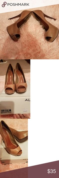 "Aldo Heels Whiskey aldo heels worn once. These  are a 4 1/2"" with platform. Beautiful and very comfortable due to the wrapped platform. Great addition for shoe Lovers like myself. I just prefer 3 inches for all day wear at the office 🤗 Aldo Shoes Heels"