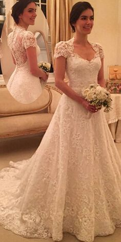 NEW! Marvelous Tulle & Lace Queen Anne Neckline A-line Wedding Dress With Beadings & Lace Appliques