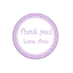 Printable Purple Chevron Party Thank You Tags Label - Polka Dots Custom Party Favors Birthday Favors Baby Shower Favors Party Decorations