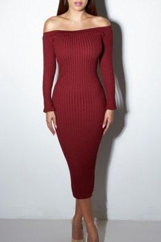 Elegant Off-Shoulder Long Sleeve Solid Color Bodycon Sweater Dress For Women