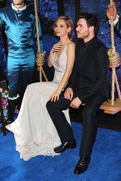 """Cinderella"" Mexico City – Lily James as Ella (Cinderella) and Richard Madden as Kit (Prince Charming)"