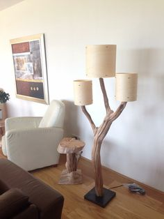Unique Floor Lamp Weathered Old Wooden Oak Tree Branch With Three Real Wood  Veneer Lampshade On Black Stone Base. Includes Cord And Floor Dimmer
