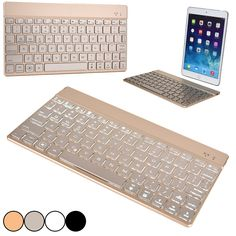GOLD Bluetooth keyboard to use with iPad Pro & Apple TV - Cooper Cases(TM) Aurora Apple iPad 1/2/3/4, Air/2, Mini/2/3/4, Pro Wireless Bluetooth Keyboard in Gold (Android/Windows/iOS Compatible; US English Keyboard; Backlighting Feature in 7 Colors)