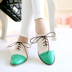 2014-New-Spring-Antumn-Womens-Flat-Shoes-Lace-up-Round-Head-Candy-Color-XWD1149