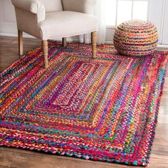 nuLOOM Casual Handmade Braided Cotton Multi Rug (7'6 x 9'6) (Multi), Blue, Size 8' x 10'