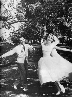 "Fred Astaire dancing with Audrey in ""Funny Face"", 1956."