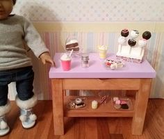 18 inch doll Bakery Stand complete with food candy jar cake