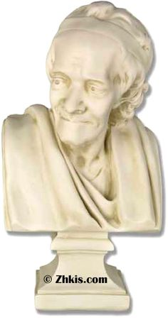 """Famous Voltaire Bust. A famous philosopher, statesman and writer. He has so may famous quotes he is worth looking up if you have never heard of him. My favorite is - """"The more I read, the more I acquire, the more certain I am that I know nothing.""""  I swear that is true the older I get."""