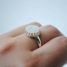 Hey, I found this really awesome Etsy listing at https://www.etsy.com/listing/194989107/white-druzy-ring-white-drusy-ring