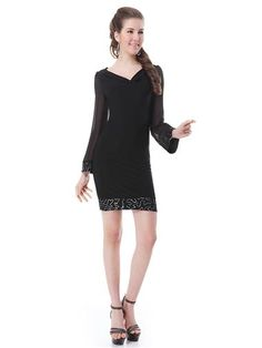 Black Long Sleeve Scoop Neck Sequined Short Party Dress - Ever-Pretty US