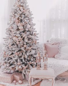 Couture Rose Gold & Blush Christmas Tree Decoration Details Hi Coutures! Here's my holiday shopping details post – as promised! Now I literally just setup the tree a few days ago and we're still making changes and have much more holiday couture decor… Rose Gold Christmas Tree, Christmas Room, Beautiful Christmas Trees, Noel Christmas, Flocked Christmas Trees Decorated, Christmas Tree Goals, Themed Christmas Trees, Champagne Christmas Tree, Natural Christmas Tree
