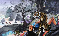 Sam Flores: Graffiti-Infused Fine Art (10 pieces) - My Modern Metropolis. Awesome graffiti inspired painting, tiger, Japanese theme