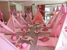 Girls camping slumber party with indoor tents
