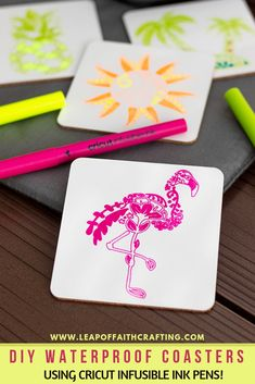 Make your own DIY summer coasters with neon Cricut Infusible Ink pens and images from Cricut Access.  Perfect hostess gift, favors, or just for fun! #cricut #coasters #summer