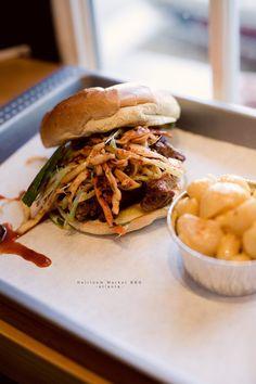 korean bbq pork sandwich + mac-n-cheese @ heirloom market bbq.