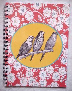 Carnet à spirale, motifs papier japonais et oiseaux. Couverture plastifiée,50 pages blanches, 90 g