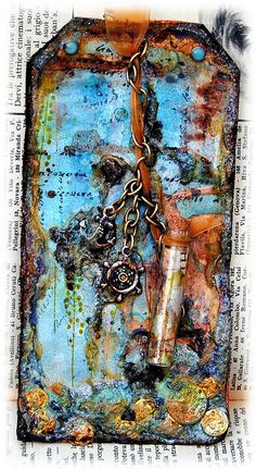 Maps beads and chains to make a special tag... via Flickr    love this look