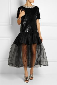 Ashish embellished sequinned black gown with tulle skirt