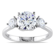 Miadora Sterling Silver Cubic Zirconia Engagement Ring | Overstock.com Shopping - The Best Deals on Cubic Zirconia  Why I like: More than one stone, looks clean and simple.
