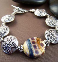 Tribal Bracelet  Thai Silver and Lampwork by StoneStreetStudio, $128.00