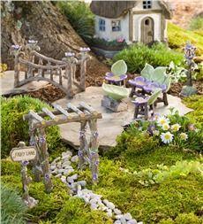 Plow & Hearth, great source for Fairy Garden accessories ... Miniature Fairy Garden Fairy Lane Set