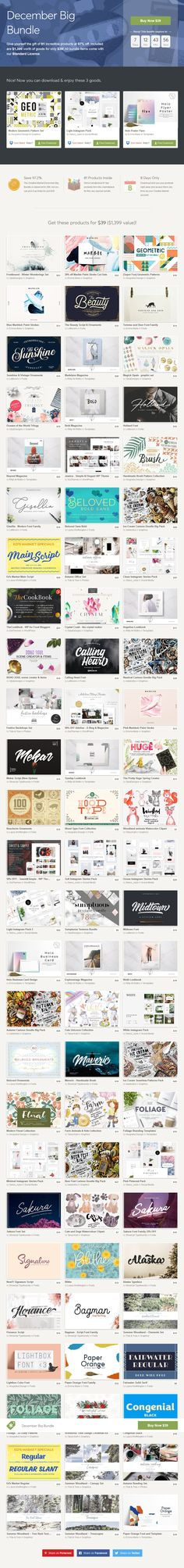 December Big Bundle + Freebies : Give yourself the gift of 81 #creative #design products at 97% off. Included are $1,399 worth of goods for only $39! ( #fonts #typography #freebies #christmas #watrercolor #texture #patterns #art #webdesign #wordpress  #graphics #vintage #socialmedia #promotion #bloggers #lookbook  #photographers #vector #illustrations #doodle #scrapbooking  #instagramstories  )