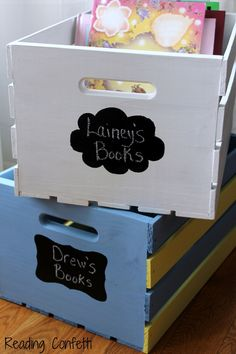 DIY book storage crates - finally that kids' book storage box solution I've been looking for!
