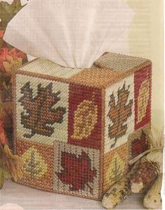 Leaf Tissue Box Cover Plastic Canvas Pattern. Such a cute and low-cost decorative idea for the fall (or any season)!