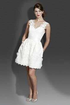 short lace wedding dress...LOVE, LOVE, LOVE, LOVE!! I love the lace, the straps are amazing, and I love, love the pockets!! I would love to try this on, it is a top contender in what I love in a wedding dress!