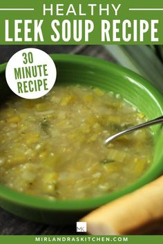 This healthy leek soup is ready in less than 30 minutes, tastes delicious, and helps you fight off cold and flu. It's the perfect winter dinner. #homemade #easy #vegitable #soup #maindish Easy Chicken Recipes, Soup Recipes, Cooking Recipes, One Pot Meals, Easy Meals, Healthy Dinner Options, Vegetarian Desserts, Leek Soup, Recipe 30