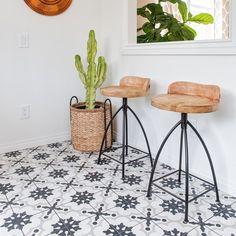 Cementine Black and White Porcelain Deco Tile   Arizona Tile