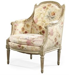 A LOUIS XVI WHITE-PAINTED BERGERE grey and white finish