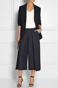 Cédric Charlier Matte-satin wide-leg pants 1205 jacket, Mason by Michelle Mason top, Pamela Love cuff, Eddie Borgo bracelet and cuff, Michael Kors shoes and clutch Black Pants Work, Wide Leg Pants, Work Pants, Wide Legs, Blue Pants, Ankle Pants, White Pants, Cool Outfits, Casual Outfits