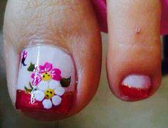 D' Ga Salón Feet Nails, My Nails, Toe Nail Designs, Toe Nail Art, Pedicure, Nail Polish, Lily, Floral, Punch