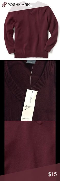 Old Navy Sweater for Men Color-dark red, like a maroon or raisin. Materials & Care 100% cotton. Machine wash. Imported.  Product Details Rib-knit V-neck. Long sleeves, with rib-knit cuffs. Rib-knit hem. Soft, medium-weight cotton. ❤️Love to hear more questions ❎No trades pls☺️ Old Navy Sweaters V-Neck