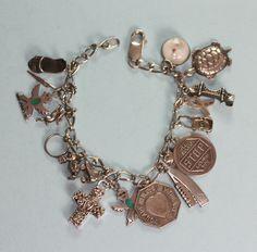 Vintage Sterling Charm Bracelet 18 Charms