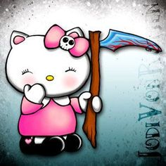Hello Kitty Grim Reaper - Awwww, she would make the PERFECT tattoo!  Right, Yvonne & Mary?  ;)