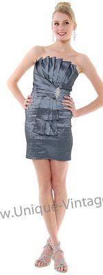 Strapless Charcoal Vertical Pleated Rhinestone Prom Dress