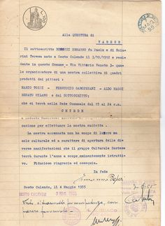 1955 Carta da bollo per richiesta mostra Sesto Calende