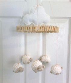 Nursery Mobile Mobile Lamb Mobile Crochet by EllaLeeRoseOriginals
