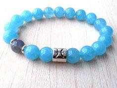 Bracelet poissons, poissons bijoux, bijoux du zodiaque, astrologie bijoux, Bracelet de signe du zodiaque, cadeau pour elle, bleu Bracelet en Quartz, Labradorite