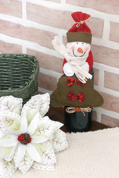 Enfeite natalino para garrafa - DIY, Christmas, Craft