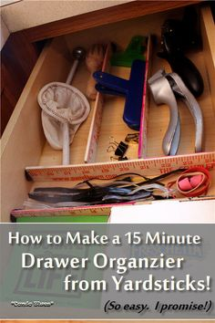 How to make a drawer organizer from recycled yardsticks. Easy and quick!