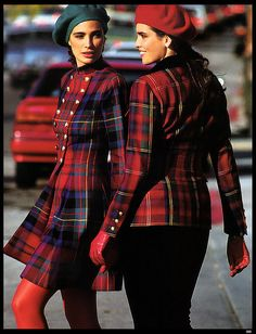 Elle: September 1991 by Daluke Vogue Fashion, 80s Fashion, Vintage Fashion, Womens Fashion, Mode Tartan, Tartan Kilt, Plaid Outfits, Casual Outfits, Tartan Fashion