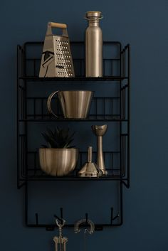 Triple shelf is made from recycled metal wire. Use it in you kitchen, bathroom or hallway. It goes pretty much anywhere due to its sleek and timeless design. Best thin is it has both shelves and hooks. Black Wall Decor, Black Walls, Maze, Timeless Design, Kitchen Decor, Shelves, Plank, Interior, Decoration